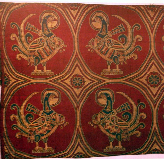 Jouarre Abbey, pheasants on silk, Sassanian, 7th-8thc